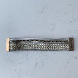3/$25 Multilayer Silver Leather Bracelet